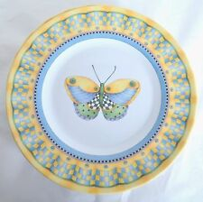 """4 Evolution Sakura Blue Yellow Butterfly Plastic Luncheon 8 1/2"""" Plate Dishes"""