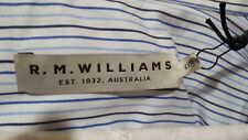 RM Williams Mens Collins White and Blue Pin Striped Long Sleeve Shirt 4xb