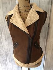 Zara Trafaluc Brown Faux Suede Fleece Lined Zipped Gilet Sz Small