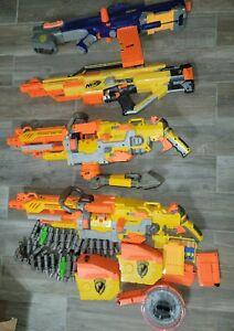Lot of 4 Nerf Guns Darts Belts - N Strike Stampede Vulcan - Not Tested - READ -