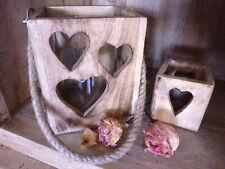 Windlicht Herz Dekor mit Glas-Einsatz Mangoholz Natur I einzeln oder 2er Set