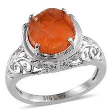 "Jalisco Mexican FIRE OPAL "" Rough Cut "" RING in 316L Stainless Steel 3.00 Cts #7"