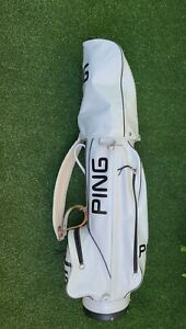 Vintage PING Golf Cart Bag 4 Way White & Black Vynil,+ RainCover, Barely Used!!