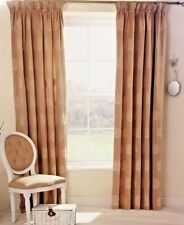 JACQUARD GOLD 66 x 90 READY MADE PENCIL PLEAT LINED CURTAINS LUXURY STYLE LIVING