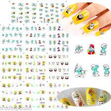Nail Art Water Decals Stickers Smurfs Spongebob Squarepants UV Tips Decoration
