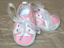 Baby Girl Crib Shoes Pink Zebra Sparkle Ribbon Laces Childrens Place 0-3 Months