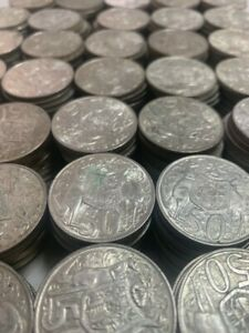 Round 50 cent Australian Silver coins 1966