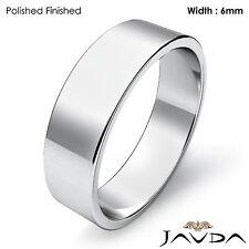 14k White Gold Plain Flat Pipe Cut Wedding Band Men Ring 6mm 6.7gm Size 12-12.75