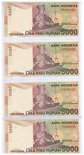 2001 ( 2008 ) Indonesia 5000 Rupiah Solid No. Note 4 pcs IPE, F, G, H 333333 UNC