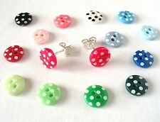 Spotty Button Earrings 6 MTH GUARANTEE 7mm. Silver Plated Polka dots spots studs