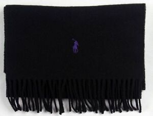 POLO RALPH LAUREN BLACK SCARF LAMBS WOOL PURPLE PONY NWT