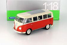 Volkswagen VW Classical Bus Baujahr 1962 rot - cremeweiß 1:18 Welly