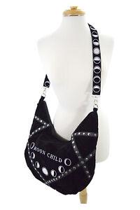 Restyle Gypsy Gothic Witch Moon Child Black Velvet Large Slouchy Hobo Bag
