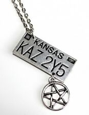 Supernatural Dean License Plate Silver Necklace Vintage-look Pentagram