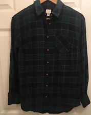A New Day Target LS Button Front Flannel Shirt Women's S Green Blue Plaid UC