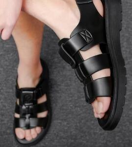 Men Open Toe Causal Summer Shoes Buckle Cut Out Leather Soft Soles Sandals Beach
