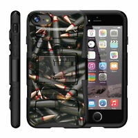 For Apple iPhone Case Hybrid Holster Belt Clip Armor Case Black Bullets