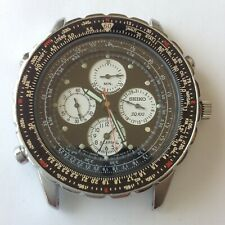 Seiko 7T34-6A90 Flightmaster reverse panda chronograph, 42 mm, for parts/repair
