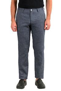 Hugo Boss Men's Stanino17-W Slim Fit Linen Flat Front Casual Pants US 32R IT 48