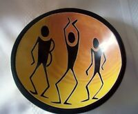 "Kenya Folk Art Hand Carved Wood Bowl Made in Kenya 6.5"" Diameter"