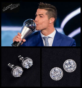Mens Ronaldo Oversized BLING 10mm 18ct White Gold Plate Crystal Diamond Earrings