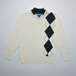 Tommy Hilfiger Boy's White Long Sleeve 1/4 Zip Argyle Cotton Jumper Size L