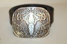 Nocona Deer Skull Buckle Men's Leather Belt Sz 42 Brown Leather