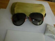 Gucci GG0062S 003 Grey Gradient Green/Red/Gold Aviator Metal Sunglasses authenti