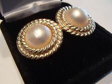 Vintage Mabe Pearl Earrings set in 14K yellow gold 12mm pearls, 22mm total width