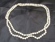 Extra Long Real White Pearl Strand Choker Lariat Knot Necklace