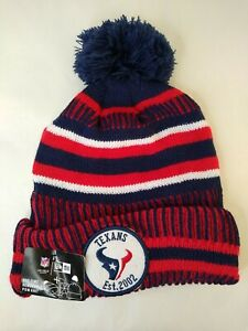 New Era Houston Texans Est 2002 NFL On Field  Winter Knit Pom Hat Cap New