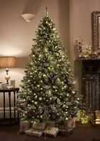 7ft Christmas Tree Windsor Multifunction Pre-Lit 400 LEDs With Pinecones Berries