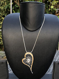 Equilibrium Silver Tone Heart Pendant & Chain Necklace Costume Jewellery