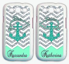 Personalized MINT CHEVRON ANCHOR BFF Best Friend Cases For Samsung GALAXY S9 S8