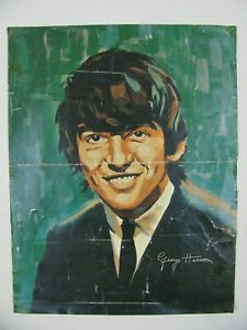 THE BEATLES GEORGE HARRISON PAINT BY NUMBER BOX TOP INSERT PRINT