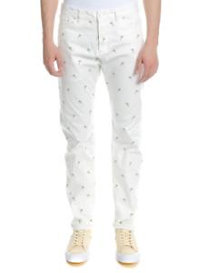 Scotch & Soda Men's Dean Palm Printed Trousers White Loose Taper Fit W32 L34