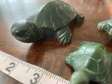 "set of Carved Turtle Green Stone / Jade Jadeite ? Unknown Figurine 4"" 3"" and 2"""
