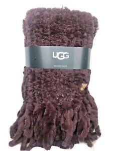 """UGG Meadow Hand Knitted Faux Fur Fringed Throw Blanket Cabernet/Plum 50"""" x 70"""""""