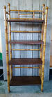 Antique Victorian 4 Tier Pyrography Bamboo Bookcase Whatnot Display Shelf