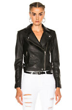 $1200 IRO 'Ashville' Black Lamb Leather Moto Biker Jacket, Size 42 (Medium)