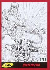 Mars Attacks The Revenge Red [99] Pencil Art Base Card P-46 Split in Two