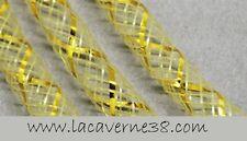 2 m Tube Résille Tubulaire 4 mm écru avec fil lurex doré création bijoux collier