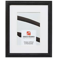 Craig Frames Wiltshire 236, Simple Black Hardwood Picture Frame With Single Mat