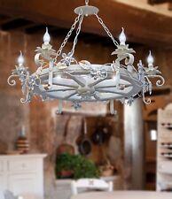 Lampadario ruota di carro ferro battuto legno e cristallo 6 luci modello fiore