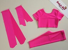 4 Piece Flo Pink Lycra Dance Age 5-7 Capris/Cropped Top Beginner Practice