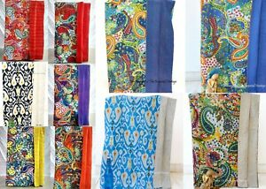 Indian Handmade Cotton Kantha Blanket Quilt Throw Twin-Size Cotton Bed Cover