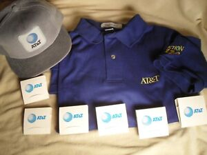 AT&T Shirt, Cap & Golf Tee Packets From  1980's - Salesman Samples Never Used