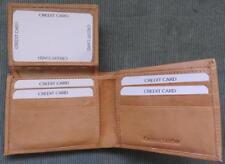 Men's Antique GENUINE Cowhide LEATHER TAN Basic Slim Bi-fold ID Flap Up WALLET