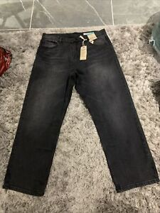 M&s Black Mix High Rise Straight Ankle Grazer Jeans Size 14 Bnwt Free Sameday Pp