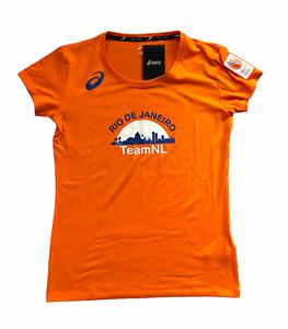 ASICS Women's Running T-Shirt Olympic Graphic Netherlands - Orange Pop - New